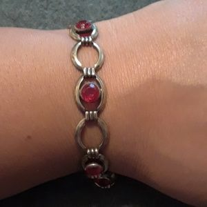 Jewelry - Vintage Simmons Red Crystal Link Bracelet